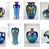 Just some of the shades of blue found in Loetz art glass