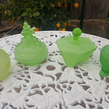 Uranium Glass Powder Pots - Art Deco