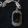 Art deco marcassite and onyx silver pendant
