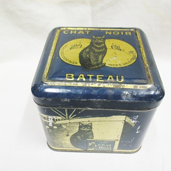 Rarest Le Chat Noir( The Black Cat )coffee tin (Belgium around 1920) - Advertising