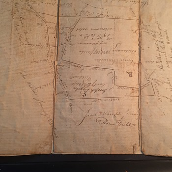 Old Handwritten Survey Map,  Papers found in box of Deeds and more. Any Famous Names here?? from PA Area - Paper