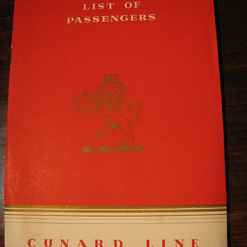 "R.M.S. ""Mauretania"" List of Passengers First Class 1953 - Paper"