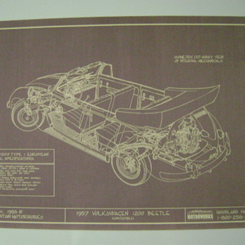 1957 VW Tech. Drawing - Posters and Prints