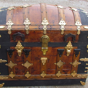 Ornate 1880's - 90's Barrel Top Trunk - Furniture
