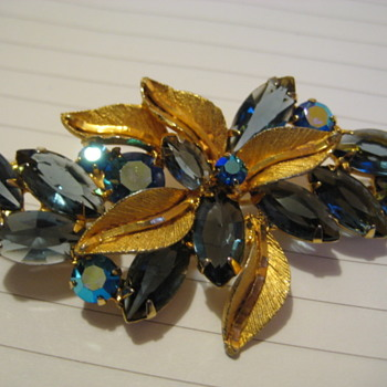 Juliana Dark Blue Crystal AB Goldtone Leaf Brooch - Costume Jewelry