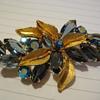 Juliana Dark Blue Crystal AB Goldtone Leaf Brooch