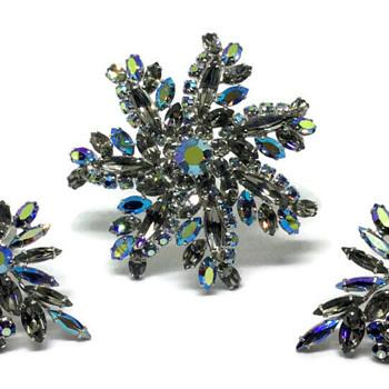 Sherman Flower Brooch & Earrings - Costume Jewelry