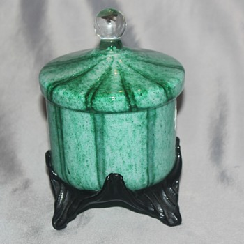 Green Covered Candy Dish - Art Glass
