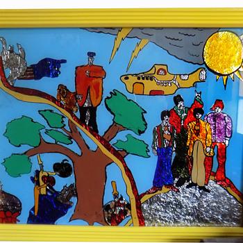 Original late 60s Beatles YELLOW SUBMARINE Hippie Folk Art - Music Memorabilia