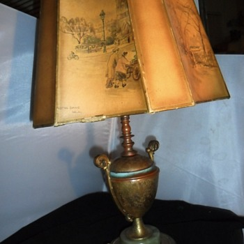 Antique trophy Brass table lamp light green marble base with painted shade and marble top