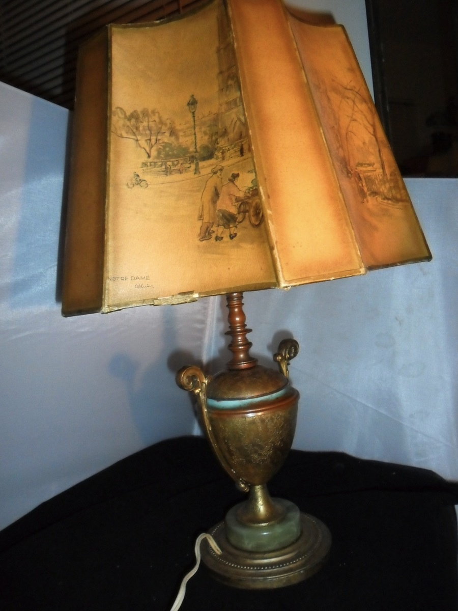 Antique Trophy Brass Table Lamp Light Green Marble Base With Painted Shade And Marble Top Collectors Weekly