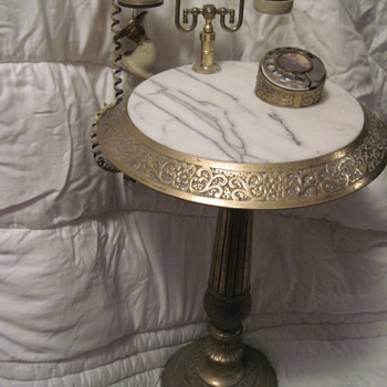 rotary telephone brass stand marble top