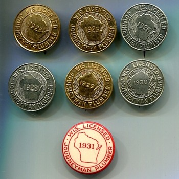 Wisconsin Licensed Journeyman Plumber Badges - Medals Pins and Badges