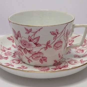 Antique Pink on White Cup and Saucer