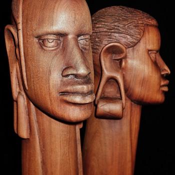 Pair of Vintage African Longneck Bust in Rosewood  - Fine Art