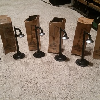 Marx Trains 6 Boxed black and chrome light posts. NOS