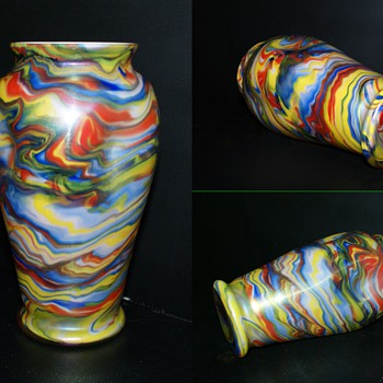 "Awesome Colorful Welz Iridescent Swirl Vase 8"" Tall - Art Glass"