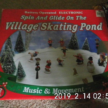 Old Battery Operated Villiage Skating Pond - Toys
