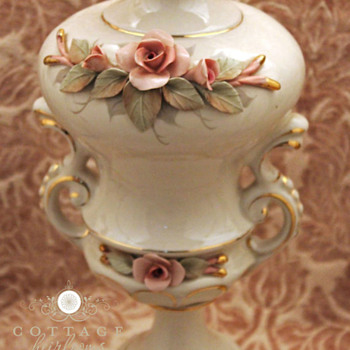 Vintage Chic White Porcelain Lamp with Pink Roses, Cordey - Lamps