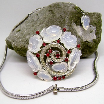 Trifari Moonstone Fruit Salad Brooch and Necklace Set - Costume Jewelry
