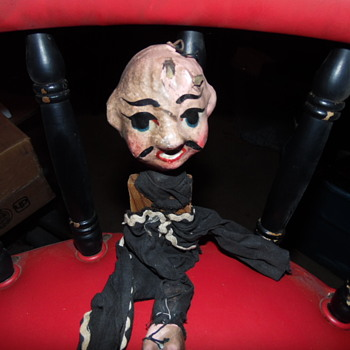 Antique Folk Art Marionette Puppet,Handpainted Wood,Clay
