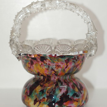 A New Welz Basket Shape - A Thin Waisted Basket with a Scalloped Rim and Thorny Handle - Art Glass