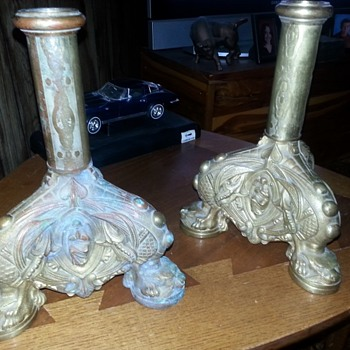 Foo Dogs and Angels Antique  cast Candle sticks  - Lamps