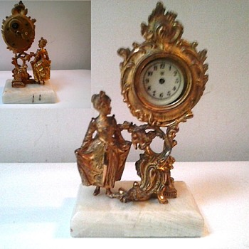 """Waterbury"" 7"" Wind-Up Novelty Clock /French Rococo Design Gilt Metal-White Onyx Base/Circa 1890-1900 - Clocks"