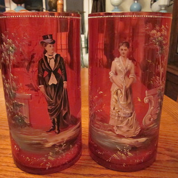 19th Century Victorian Cranberry Enameled Glass Moser Vases  - Art Glass
