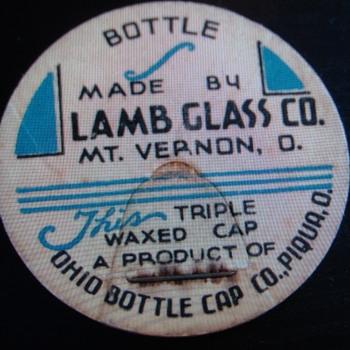 LAMB GLASS CO...MT. VERNON OHIO...SALESMAN SAMPLE CAP - Bottles