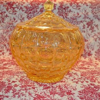 Indiana Glass Tiara Yellow Mist Cookie Jar