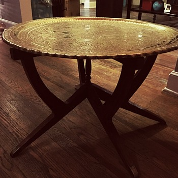 Antique brass serving tray and spider leg table