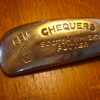 "ANTIQUE GOLF PUTTER ""CHEQUERS SCOTCH WHISKEY"" SCOTLAND"