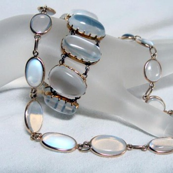 Antique Moonstone Necklace and Bracelet Set    - Fine Jewelry