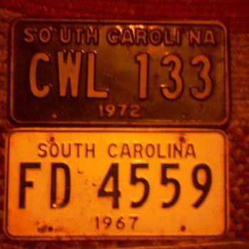 Old S. Carolina Car Tag's 67 & 72~~Bicentennial Tag's
