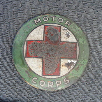 Motor Corps Red Cross WWI Porcelain/brass medallion??? - Military and Wartime