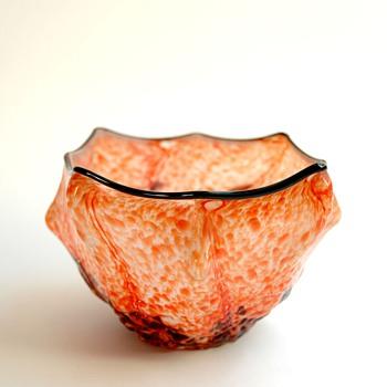 Antique Bohemian Czech WELZ KNUCKLE Art Glass Vase with Embossed Leaves - Art Nouveau
