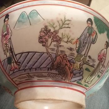 "10"" porcelain bowl geisha farming scene"