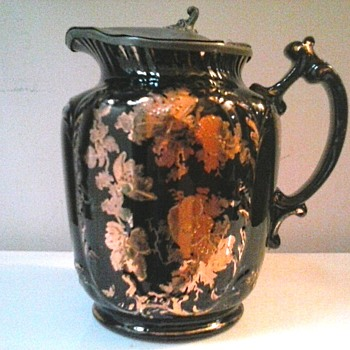 "Samuel Johnson Ware -Burslem- / 6 "" Black and Gilt Floral Syrup Pitcher With Pewter Lid /Circa 1887-1915 - Pottery"