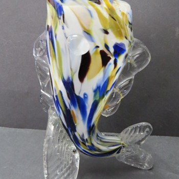 Murano Glass Fish Vase - Art Glass