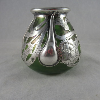 Loetz Vesuvian with silver overlay  - Art Glass