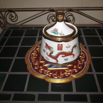 Red Dragon & Pheonix Chinese Enaneled Porcelain Gold Trim - Asian
