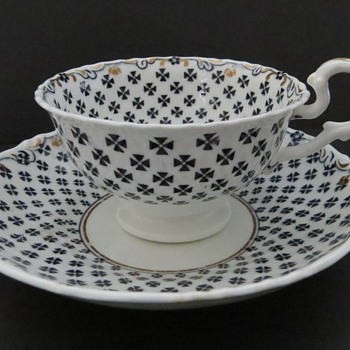 Antique Samuel Alcock Cup & Saucer - Maltese Cross - China and Dinnerware