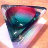 Large purple, red, and green Murano glass thingamajig very heavy/Murano Italy glass