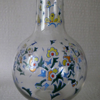 enamel painted bottle 1930s? - Art Glass