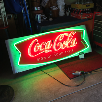 Coca-Cola porcelain fishtail sled neon sign - Coca-Cola