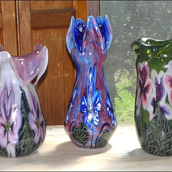 Three CROWN TOP Vases by Robert Lagestee - Art Glass
