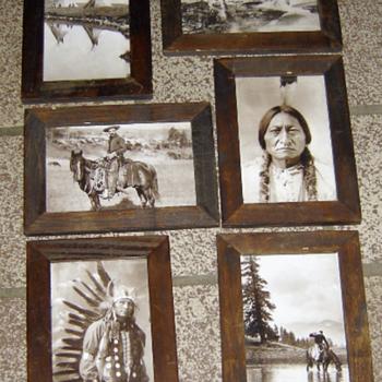 Old West, Native America Postcards in Frames