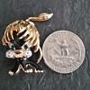 Adorable Black Enamel & Gold Tone Lion Cub Brooch With Green Jewel Eyes