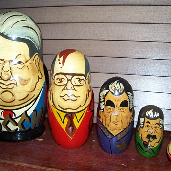 Matryoshka nesting dolls depicting Russian leaders. - Dolls